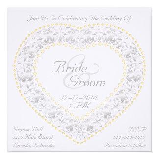 Silver & Gold Heart Rainbow - Wedding Invitation