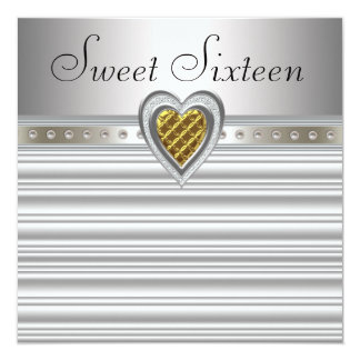 Silver Gold Heart Sweet Sixteen Birthday 5.25x5.25 Square Paper Invitation Card