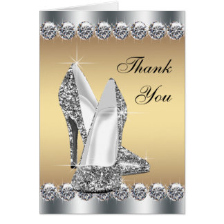 Silver Gold High Heel Shoe Thank You Cards