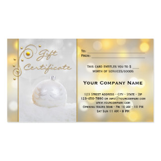 Silver Gold Holidays Gift Certificate Template Business Card