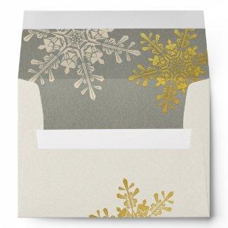 Silver Gold Ivory Snowflake Winter Wedding Envelopes