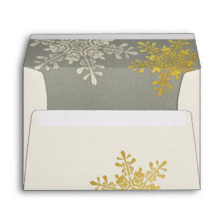 Silver Gold Ivory Snowflake Winter Wedding Envelope