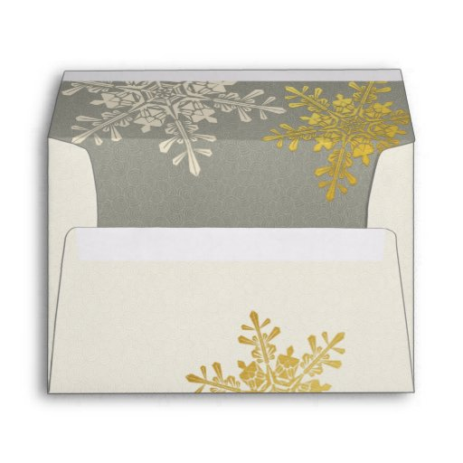Silver Gold Ivory Snowflake Winter Wedding Envelopes
