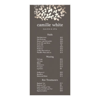 Silver Gold Leaves Beauty Salon Price List Menu
