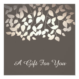 Silver Gold Leaves  Salon and Spa Gift Certificate Card