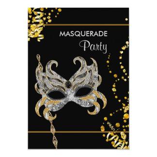 Silver Gold Mardi Gras Masquerade Party Card