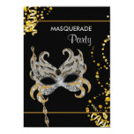 Silver Gold Mardi Gras Masquerade Party 5x7 Paper Invitation Card