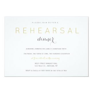 Silver & gold modern rehearsal dinner invitations