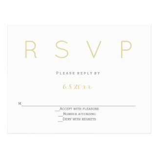 Silver & gold modern wedding rsvp postcards