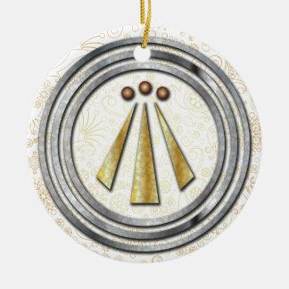 Silver & Gold Neo-Druid symbol of Awen 1 Ceramic Ornament