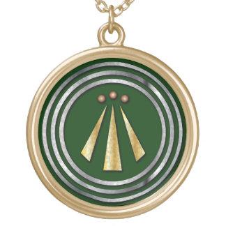 Silver & Gold Neo-Druid symbol of Awen Necklas Round Pendant Necklace