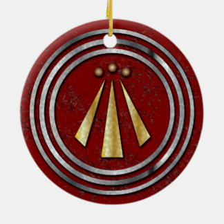 Silver & Gold Neo-Druid symbol of Awen on Red Ceramic Ornament