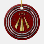 Silver & Gold Neo-Druid symbol of Awen on Red Christmas Tree Ornament