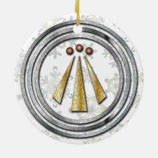 Silver & Gold Neo-Druid symbol of Awen & snowflake Ceramic Ornament
