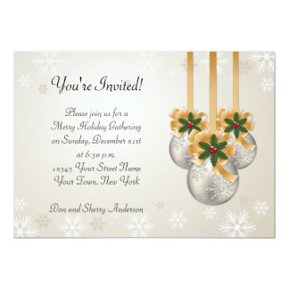 Silver Gold Ornaments Bows Holly Holiday Card