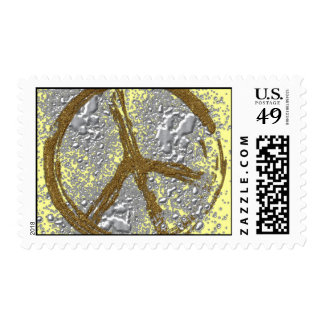 SILVER & GOLD PEACE SIGN POSTAGE STAMP