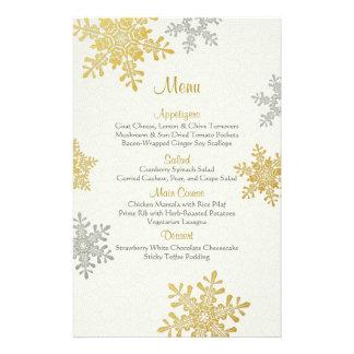 Silver Gold Pearl Snowflakes Winter Wedding Menu