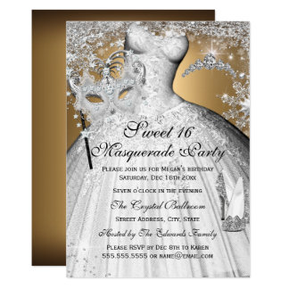 Silver Gold Princess Masquerade Sweet 16 Invite