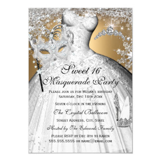 Silver Gold Princess Masquerade Sweet 16 Invite
