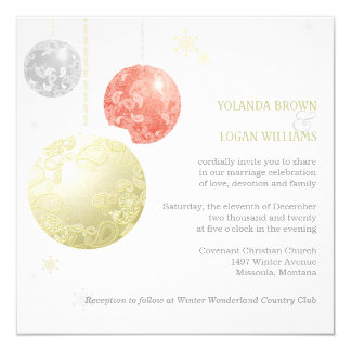Silver, Gold, Red Christmas Balls Wedding Invites