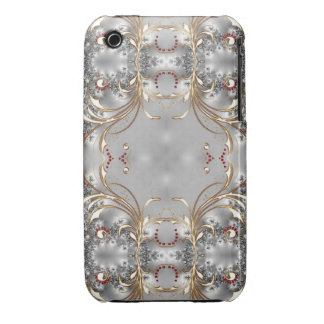 Silver - Gold - Ruby Victorian Style Blackberry Case-Mate iPhone 3 Case
