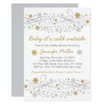 Silver & Gold Snowflake Baby Shower Card