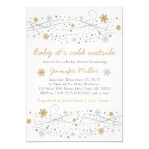 Silver & Gold Snowflake Baby Shower Invitations