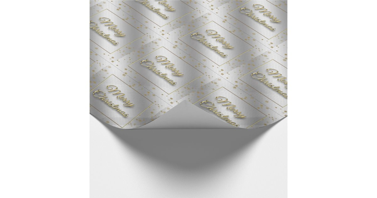 silver gold snowflake christmas wrapping paper zazzle