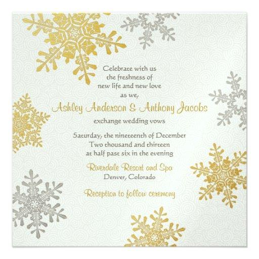 Silver Gold Snowflake Square Winter Wedding 525x525 Square Paper Invitation Card