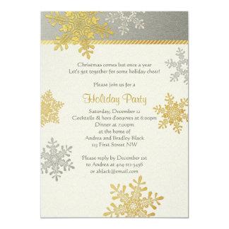 "Silver Gold Snowflake Winter Christmas Holiday 5"" X 7"" Invitation Card"