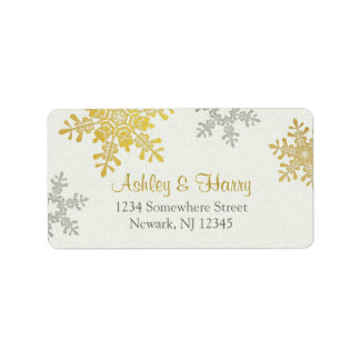 Silver Gold Snowflake Winter Wedding Address Label