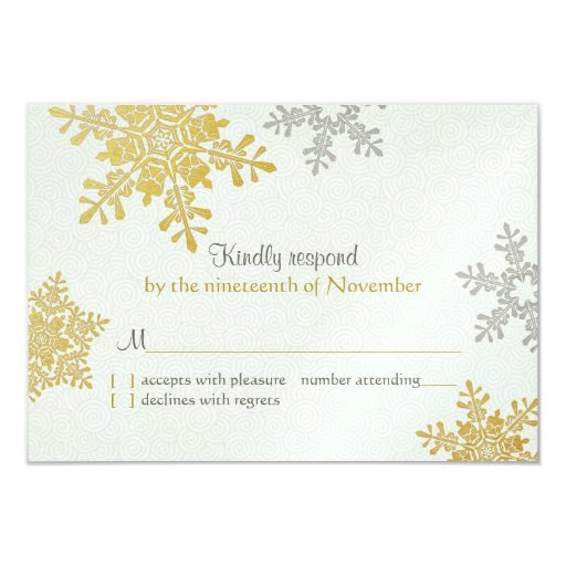 Silver Gold Snowflake Winter Wedding Reply Card Custom Invitations