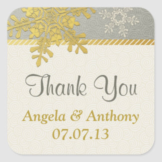 Silver Gold Snowflake Winter Wedding Stickers