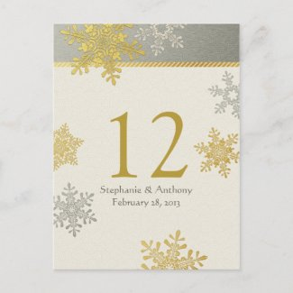 Silver Gold Snowflake Winter Wedding Table Card Postcards