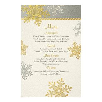 Silver Gold Snowflakes Winter Wedding Menu Card