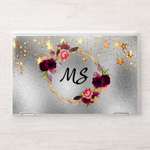 Silver gold stars floral burgundy monogram HP laptop skin