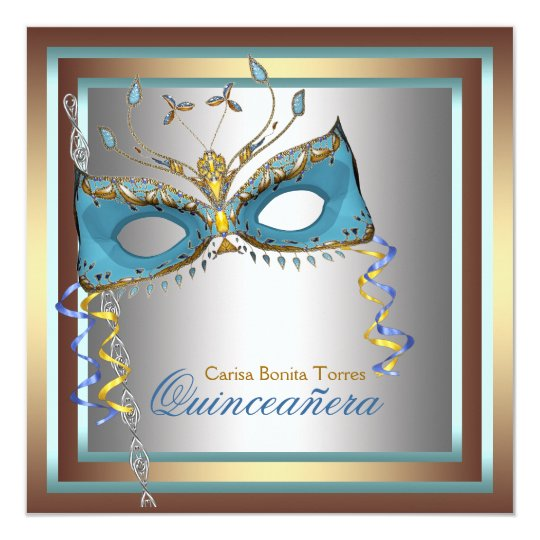 Silver Gold Teal Masquerade Party Card