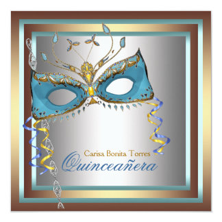 Silver Gold Teal Masquerade Party Personalized Announcement