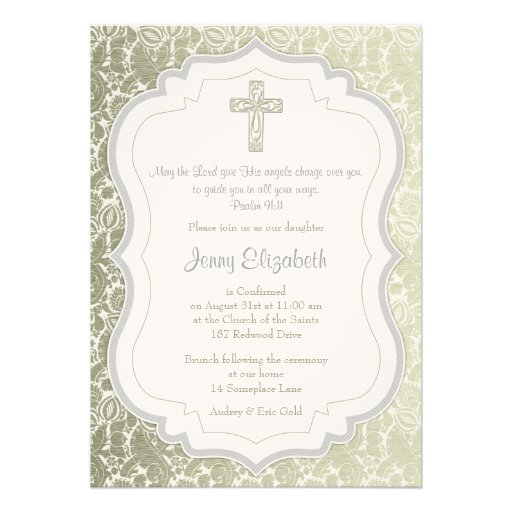 Silver Gold Vintage Damask Cross Confirmation Personalized Announcements