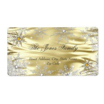Christmas Themed Silver Gold Winter Wonderland Christmas Holiday Label