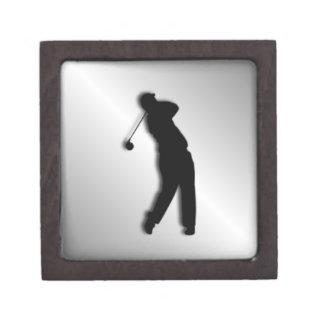 Silver Golf Design Keepsake Box