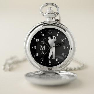 Silver Golfer Triple Monogram Pocket Watch
