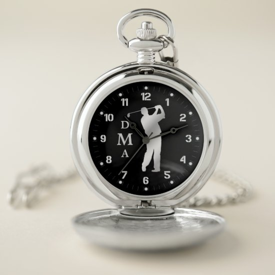Silver Golfer Triple Monogram Pocket Watch