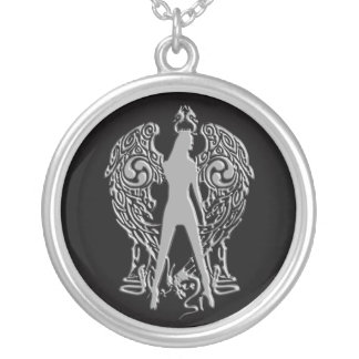 Silver Goth Angel Necklace