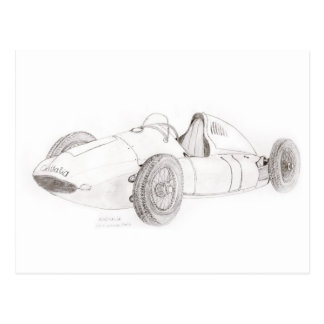 Silver GP Racer - Line Drawing Postcard