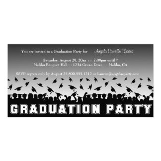 Silver Gradient Graduation Party Silhouette Invite Custom Photo Card