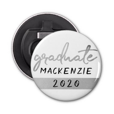 Silver Graduate | Trendy Platinum Brush on White Bottle Opener