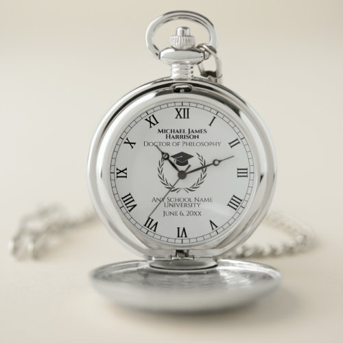 Silver Graduation Commemorative Pocket Watch