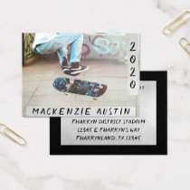 Silver Graduation | Modern Grad Photo Announcement Business Card