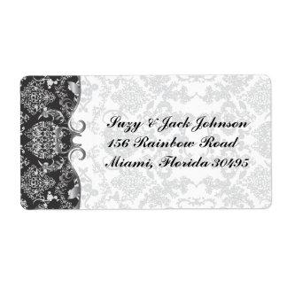 Silver Grandeur Damask Label
